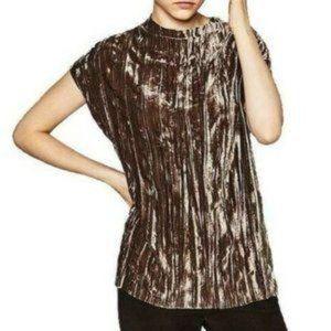 Zara Grey Brown Taupe Velvet NWT Top Small